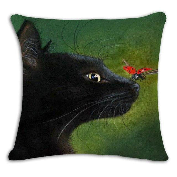 A Cat and A Ladybird Cushion Cover