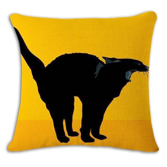 Black Cat in Yellow Cushion Cover