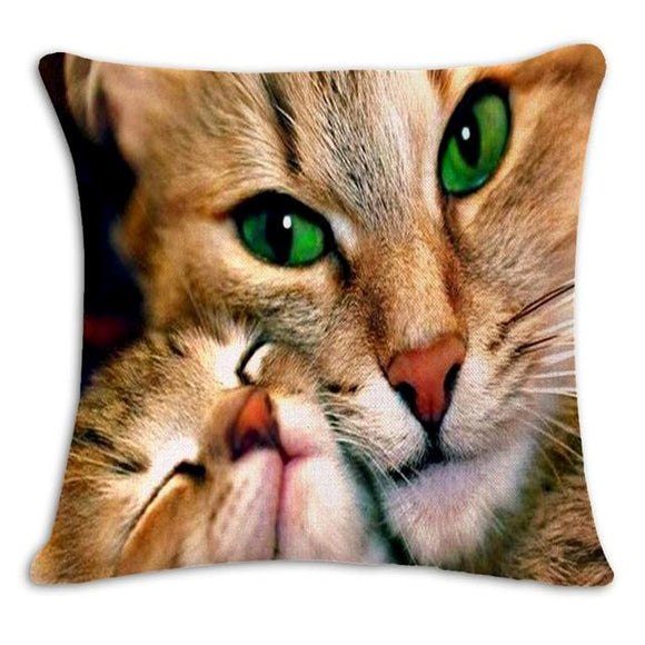 Mum and Baby Cat Cushion Cover