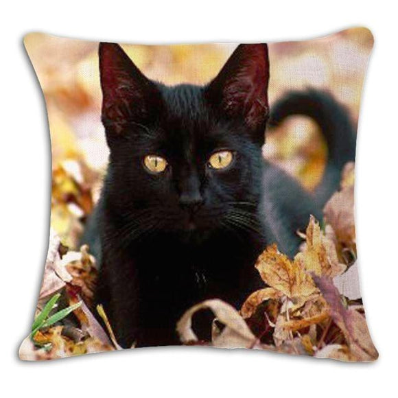 Cat in Leaves Cushion Cover