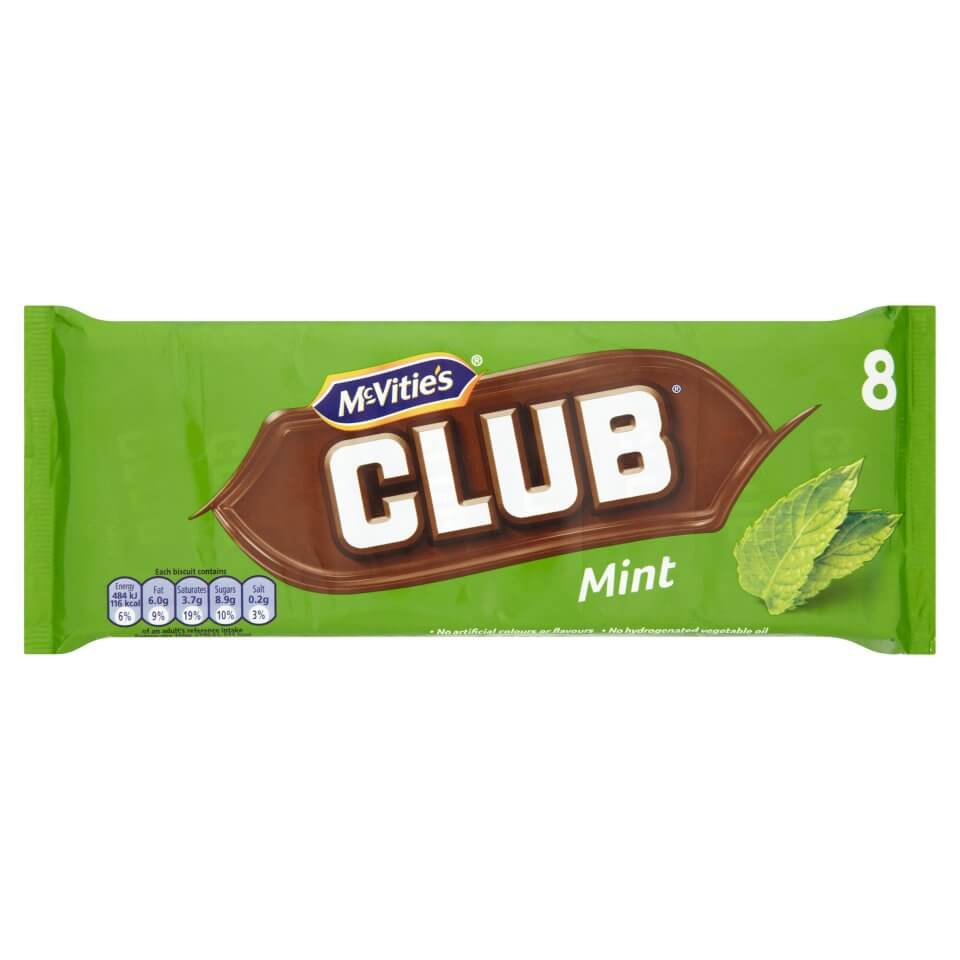 Jacobs (McVities) Club Bars Mint (Pack of 8) 176g