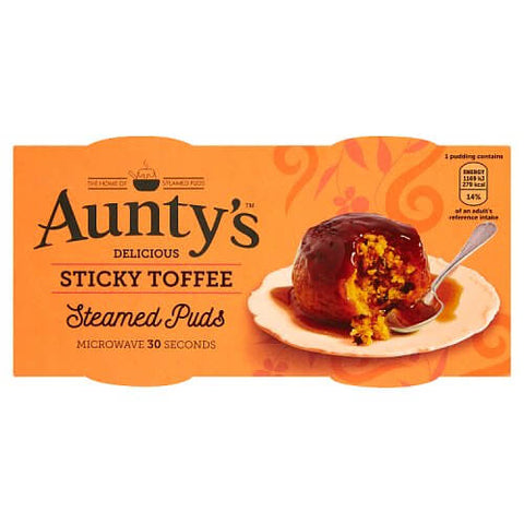 Auntys Sticky Toffee Steamed Puddings (Pack of 2) 190g