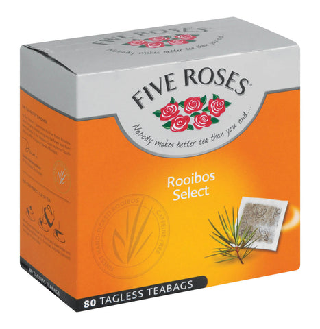 Five Roses Rooibos Pure Premium Tagless Tea Bags (Pack of 80) 160g