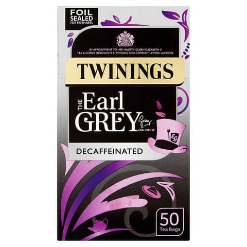 Twinings Tea - Earl Grey Decaffeinated Tea Bags (Pack of 50) 125g