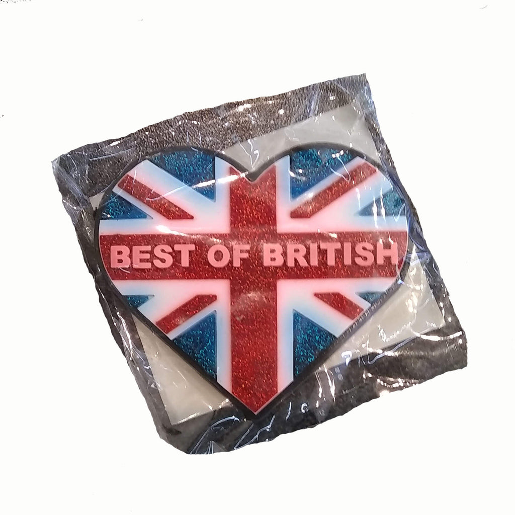 British Brands Magnet PVC Union Jack Best of British Glitter Heart 100g