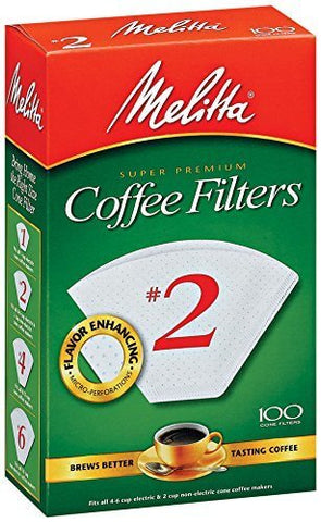 Melitta Coffee Filters No.2 White (100 Cone Filters) 155g