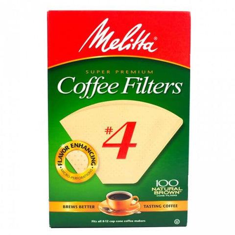 Melitta Coffee Filters No.4 Natural Brown (100 Cone Filters) 225g