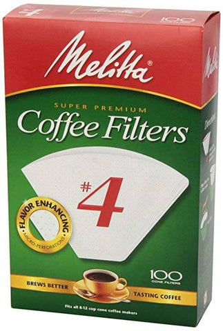 Melitta Coffee Filters No.4 White (100 Cone Filters) 225g