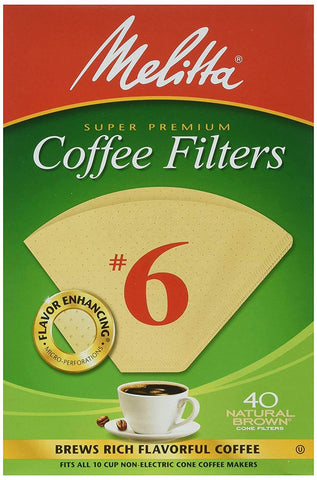 Melitta Coffee Filters No.6 Natural Brown (40 Cone Filters) 145g