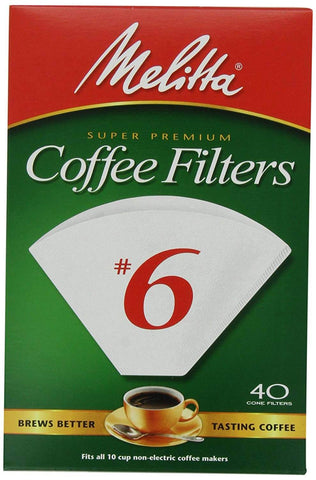 Melitta Coffee Filters No.6 White (40 Cone Filters) 145g