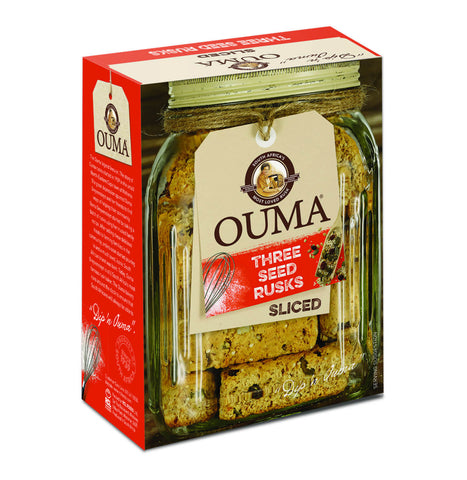 Nola Ouma Rusks - Three Seed Sliced Rusks With Pumpkin Sesame and Sunflower Seeds Chunky 450g