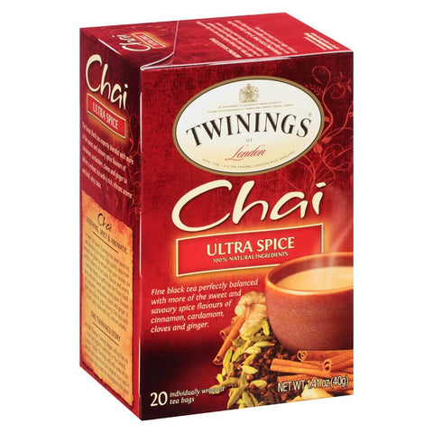 Twinings of London Tea - Chai Tea Ultra Spice (Pack of 20 Tea Bags)  40g