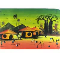 "African Hut African Art Village Scene in Green and Orange (29"" x 17"") 50g"