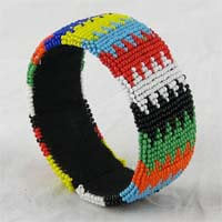 African Hut Beaded Bangle Wide Zulu Prints (Beadwork Varies) 40g