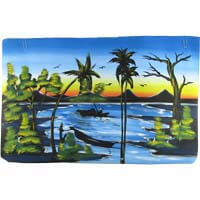"African Hut African Tribal Art on the River in Colour (29"" x 18"") 50g"