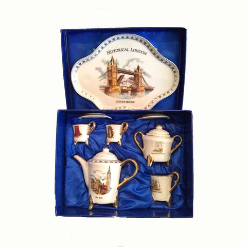 British Brands Ornamental Tea Set - with Historical London Design (10 Pieces) 607g
