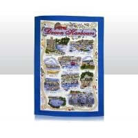 British Brands Tea Towel - Royal Blue with Devon Harbors 100% Cotton 70g
