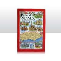 British Brands Tea Towel - Red with Around Sussex Scenes 100% Cotton 70g
