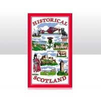 British Brands Tea Towel - Red with Historical Scotland Scenes 100% Cotton 70g