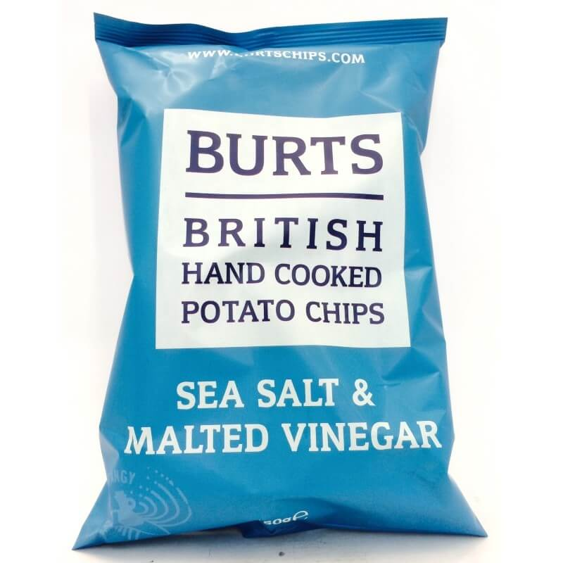 Burts Crisps - Sea Salt and Malt Vinegar Thick Cut Potato Chips 150g
