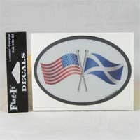 British Brands Decal USA and Scottish Flags Oval Shape Reflective and Waterproof 10g