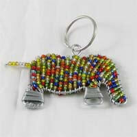 African Hut Beaded Keyring Multi-Coloured Elephant 28g