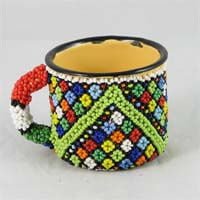 African Hut Beaded Tin Mug Small Zulu Prints (Beadwork Varies) 96g