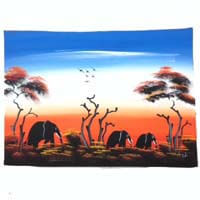 "African Hut African Art Elephants at Late Sunrise (29"" X 17"") 50g"