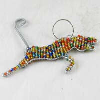 African Hut Beaded Keyring Cheetah Multi-Colored 23g