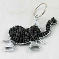 African Hut Beaded Keyring Elephant Black Color 23g