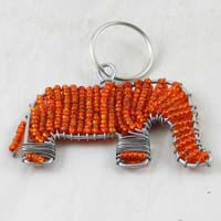 African Hut Beaded Keyring Elephant Orange Colour 28g