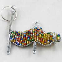 African Hut Beaded Keyring Warthog Multi-Colored 28g