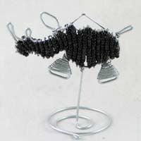 African Hut Beaded Place card Holder Rhino Black Colour 26g
