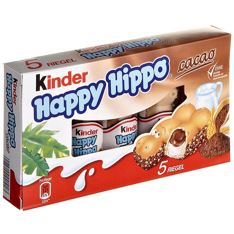 Ferrero Kinder Milk and Hazelnut Happy Hippo Biscuit (Pack of 5) 103.5g