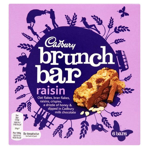 Cadbury Brunch Bar Raisin (Pack of 6) 192g