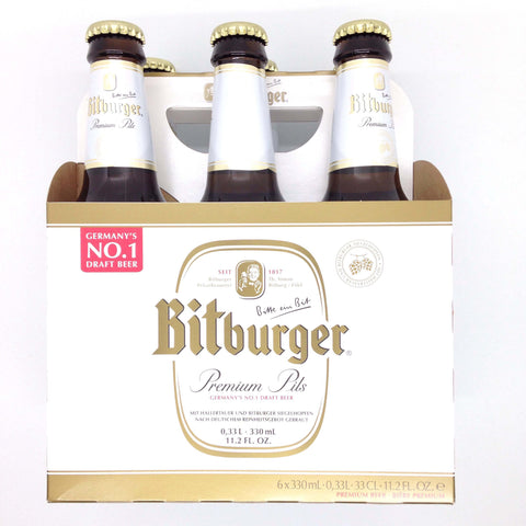 Bitburger Premium Pils (Pack of 6 x 330ml) 3.3kg