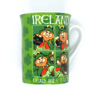 British Brands Mug - Fluted Mug with a Leprechaun Design. Bone China 227g