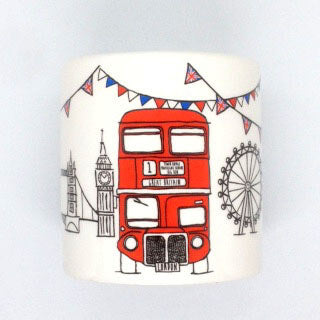 British Brands Money Box - Ceramic with a Sketchy London Bus Design 350g
