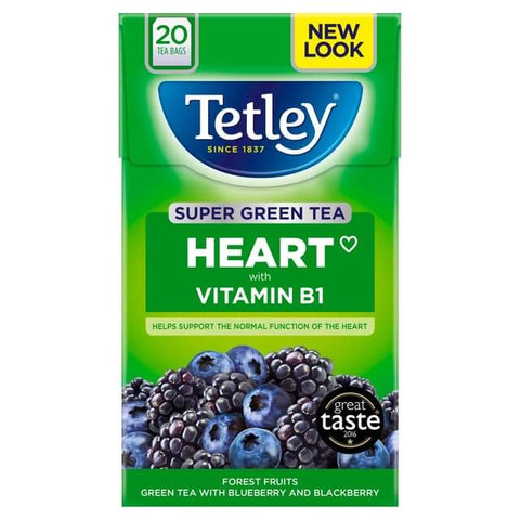 Tetley Tea - Heart Super Green Tea with Forest Fruits (Pack of 20 Tea Bags) 40g