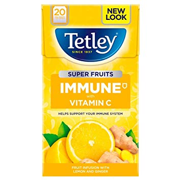 Tetley Tea - Immune Super Fruits Tea with Lemon and Ginger (Pack of 20 Tea Bags) 40g