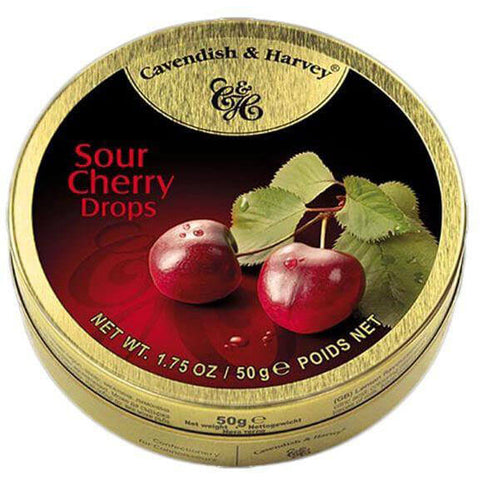 Cavendish and Harvey Small Sour Cherry Drops Tin 50g