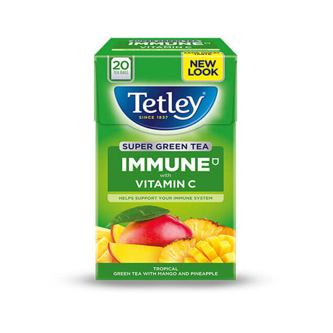 Tetley Tea - Immune Super Fruits Tea with Pineapple and Mango (Pack of 20 Tea Bags) 40g