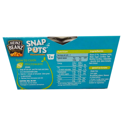 Heinz Baked Beans - 2 Pack Snap Pots (Pack of 2 Tubs) 400g