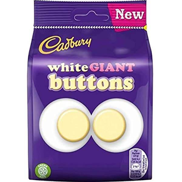Cadbury Buttons - White Chocolate Giant Buttons Bag 95g