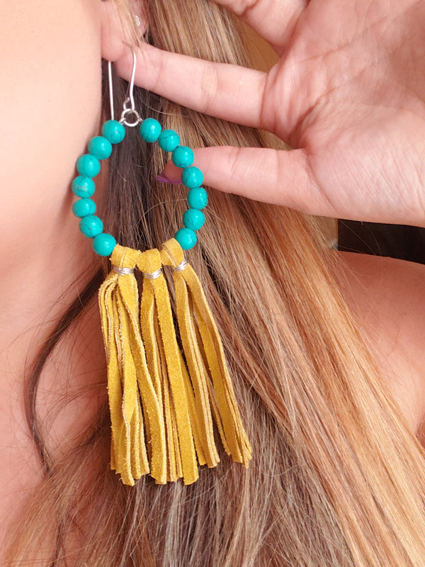 CHIPPEWA EARRINGS ** TURQ / MUSTARD