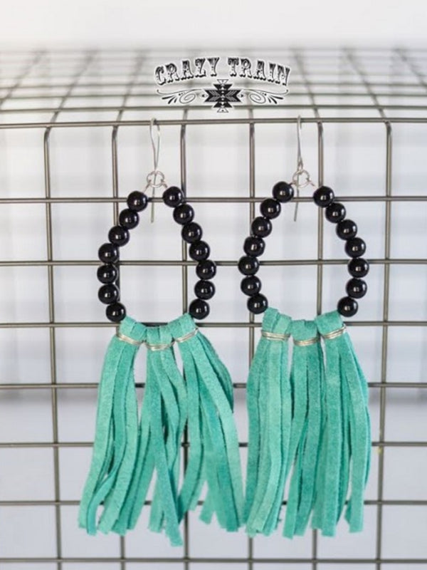 Beaded Black Earrings