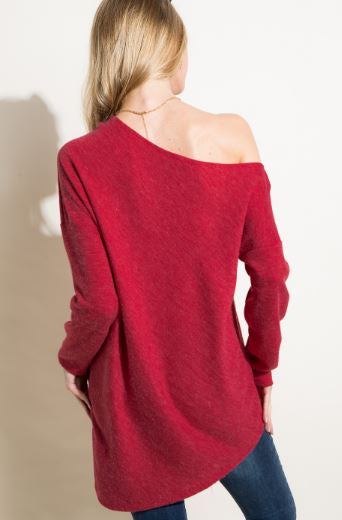 Asymmetric Hem Line Off the Shoulder Top