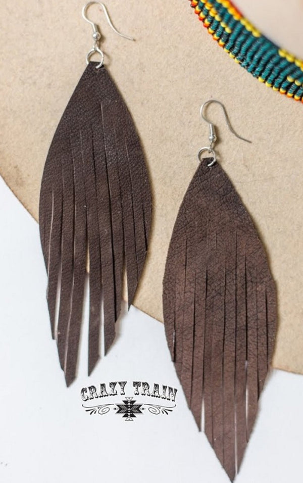Brown Fringe Frenzy Earrings