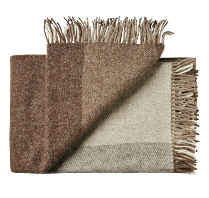 ST BATHANS WEAVE THROW - CHOCOLATE - PURE WOOL
