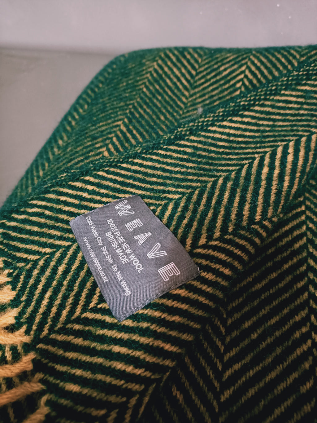 LERWICK WARWICK THROW - FOREST GREEN - PURE WOOL